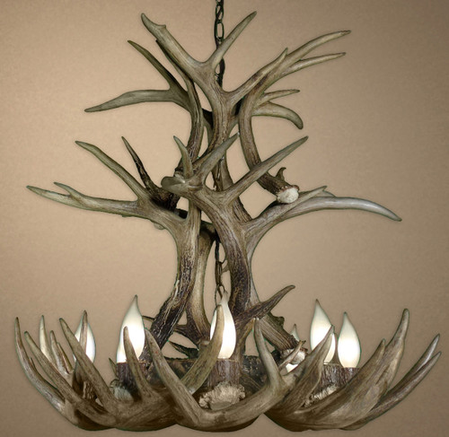 Real White-tail Deer Tiered Chandelier