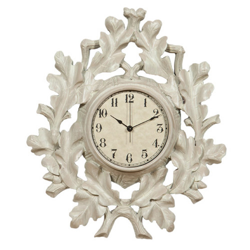 White Oak Leaf Wall Clock