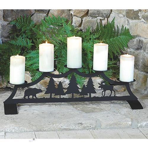 Bear and Moose Fireplace Pillar Candle Holder