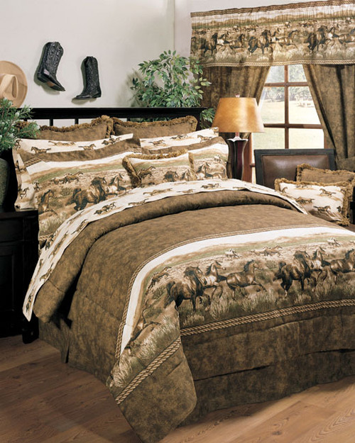 Wild Horses Square Fringed Pillow