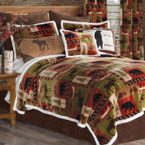 Wildlife Patch Plush Bed Set - Queen