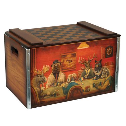Wildlife Poker Game Checkerboard Box