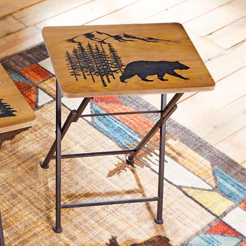 Wood Bear Folding Side/Tray Table
