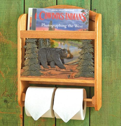 Wood Bear Toilet Paper Holder and Magazine Rack