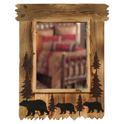 Wood Black Bear Mirror