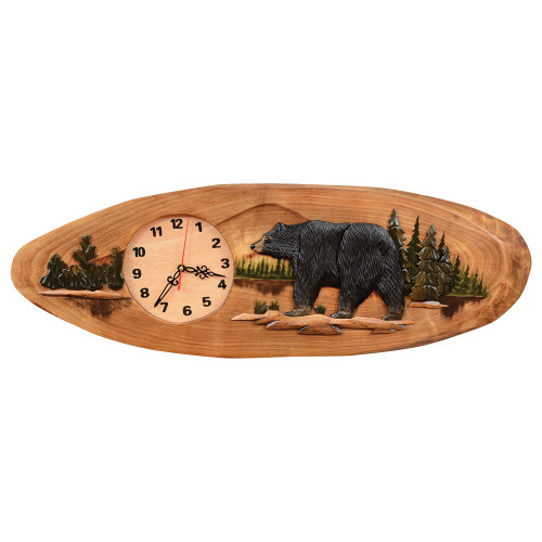 Wood Carved Walking Bear Wall Clock