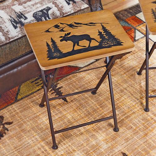 Wood Moose Folding Side/Tray Table