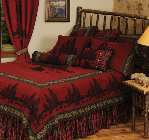 Wooded River Bear 5 Bedspread - King