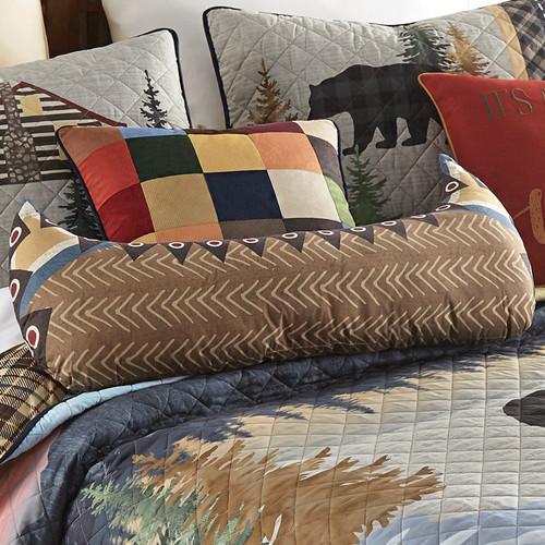 Woodland Bear Cabin Canoe Pillow