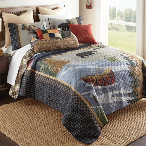 Woodland Bear Cabin Quilt Set - King