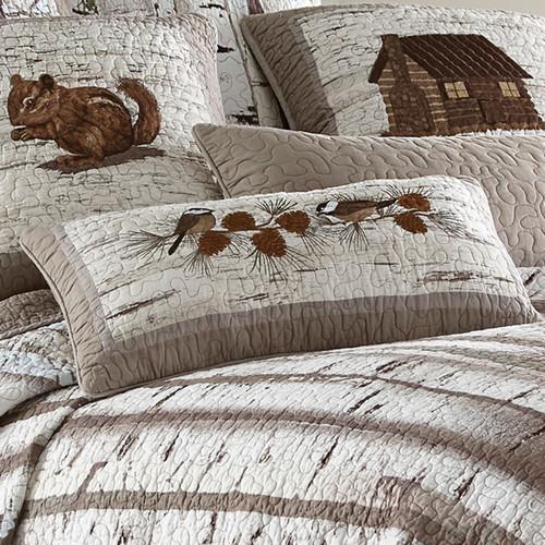 Woodland Birch Chickadee Pillow
