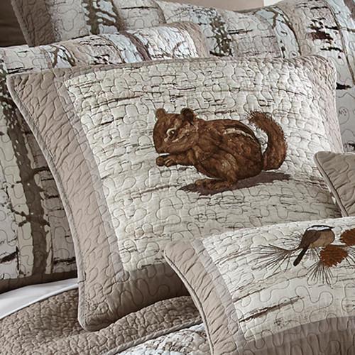 Woodland Birch Chipmunk Pillow