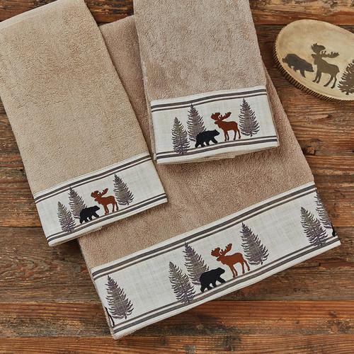 Woodland Moose & Bear Bath Towel