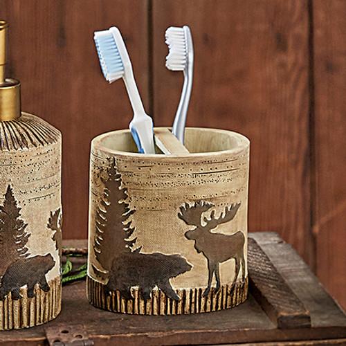 Woodland Moose & Bear Toothbrush Holder