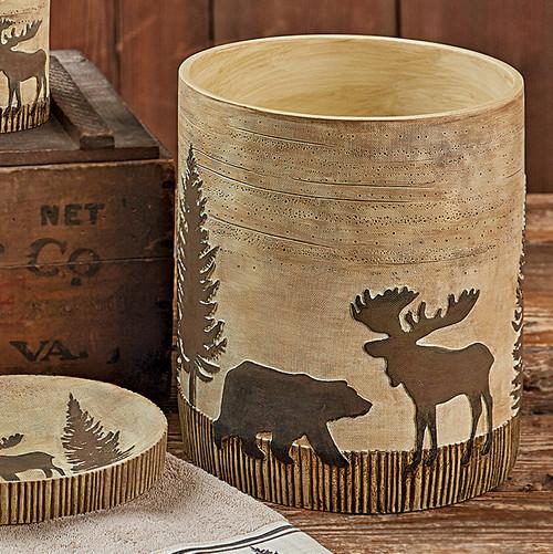 Woodland Moose & Bear Waste Basket