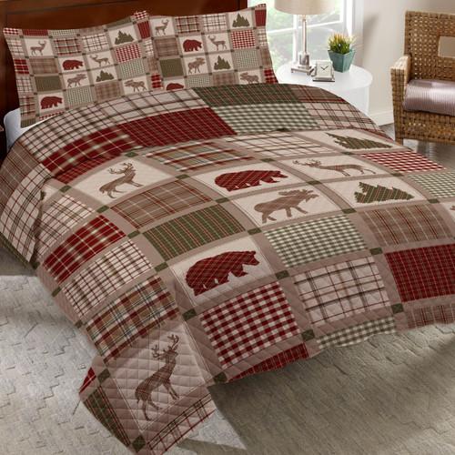 Woodland Plaids Quilt Bed Set - King