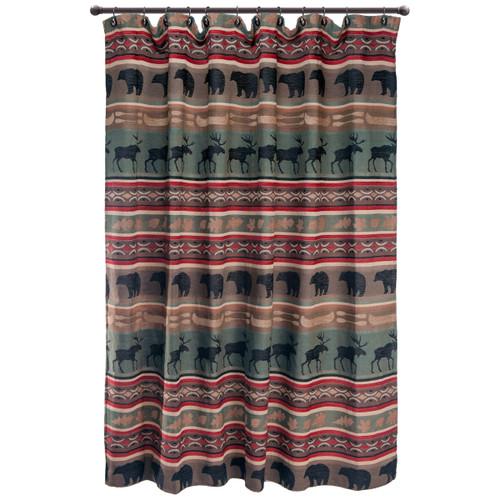 Yukon River Bear & Moose Shower Curtain