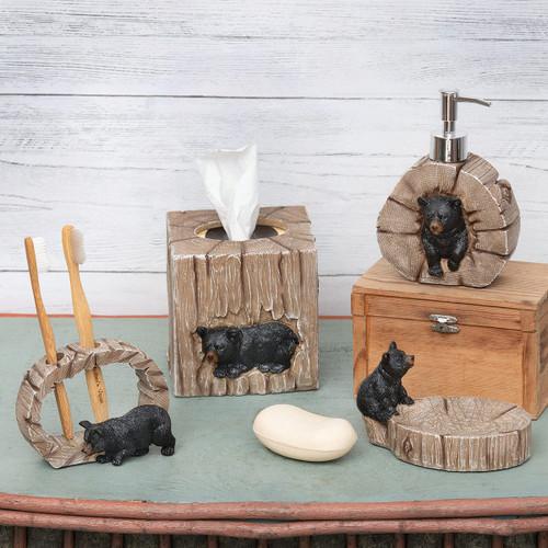 Tree Stump Bear Bath Accessories