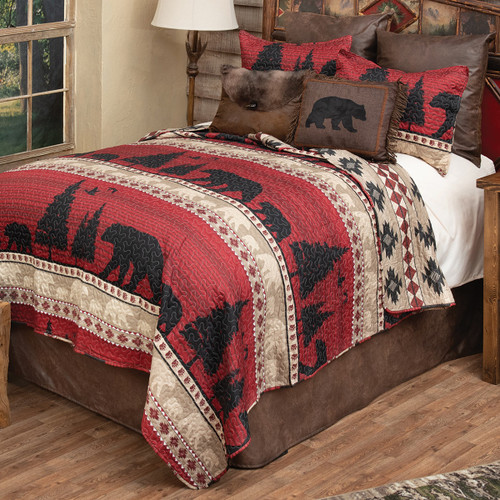 Crimson Valley Bears Quilt Bedding Collection