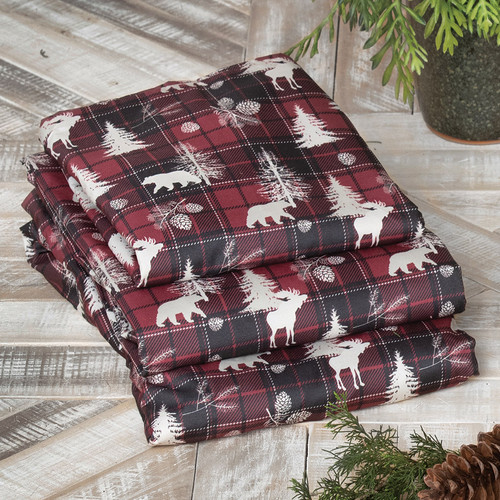 Yukon Plaid Moose & Bear Sheet Set - Queen