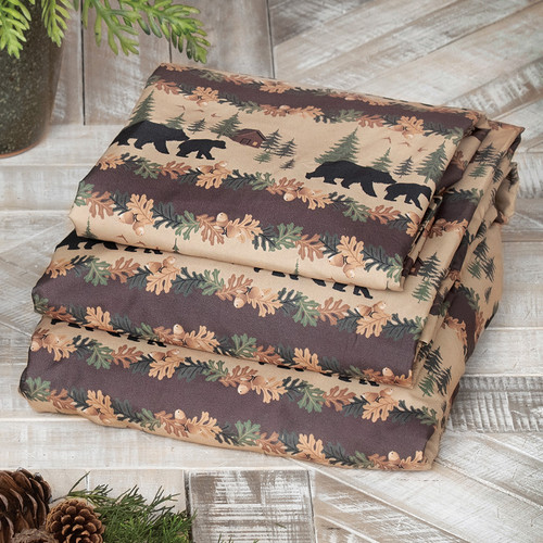 Cozy Cabin Bears Sheet Set - King