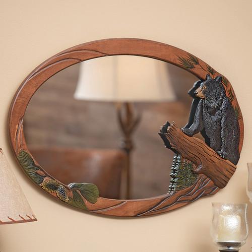 Bear Ridge Carved Wood Mirror