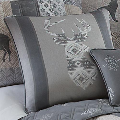 Gray Deer Emblem Pillow