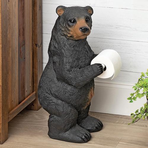 Black Bear Cub Standing Toilet Paper Holder