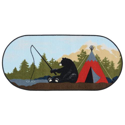 Bears Fishing Oval Rug