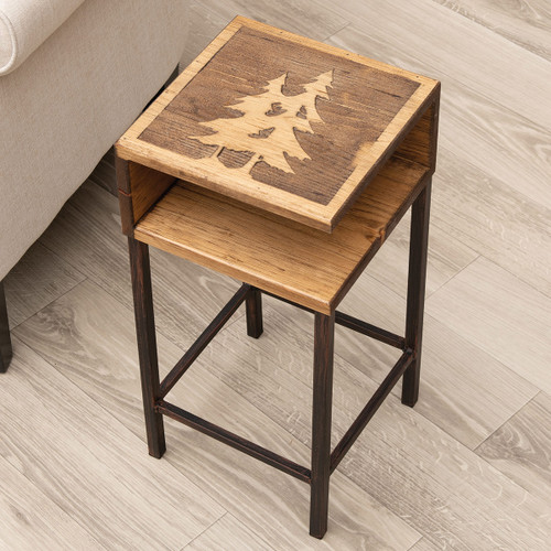 Etched Pine Tree Drink Table