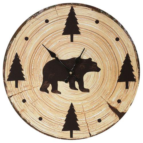 Tree Slice Bear Wall Clock