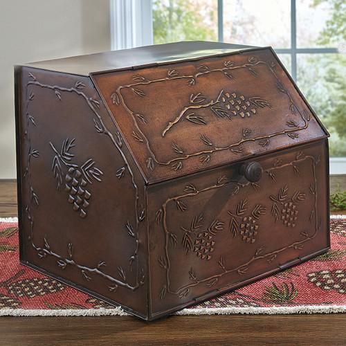 Pinecones Metal Bread Box