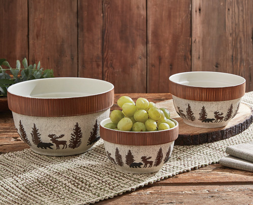 Woodland Moose & Bear Mixing Bowls - Set of 3