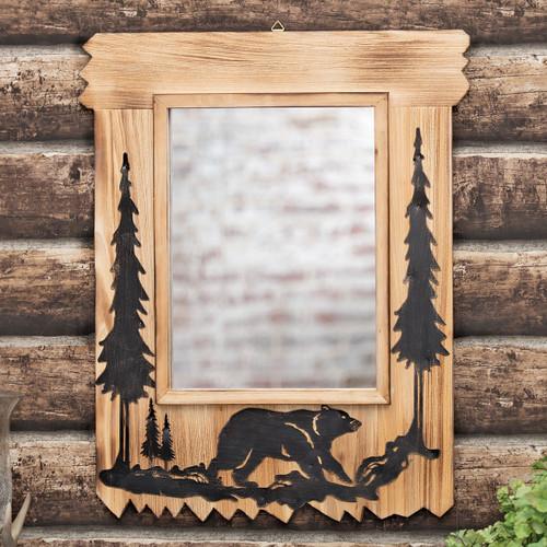 Bear Journey Wood Mirror