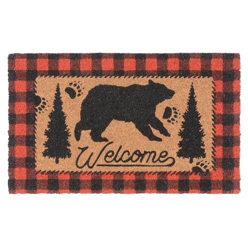 Bear Plaid Welcome Coir Doormat