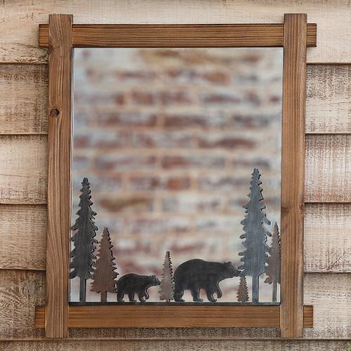 Bear Stroll Wood Wall Mirror