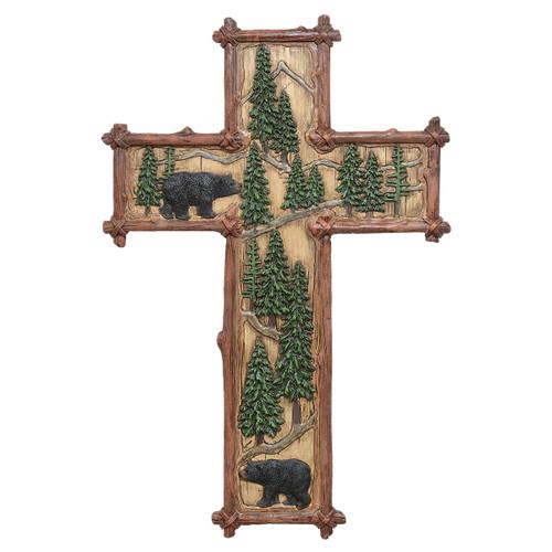 Bear & Pine Trees Wall Cross