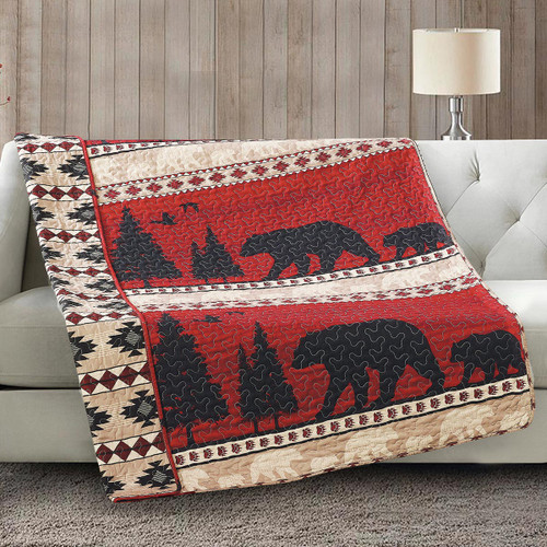 Crimson Valley Bears Quilted Throw