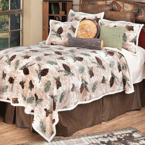 Pinecone Medley Plush Bed Set - Twin