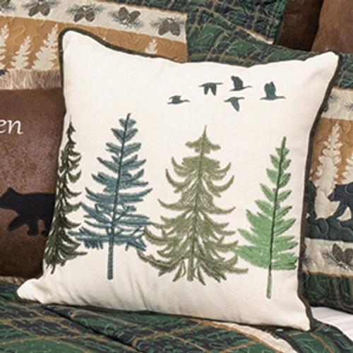 Northern Flight Pine Tree Pillow