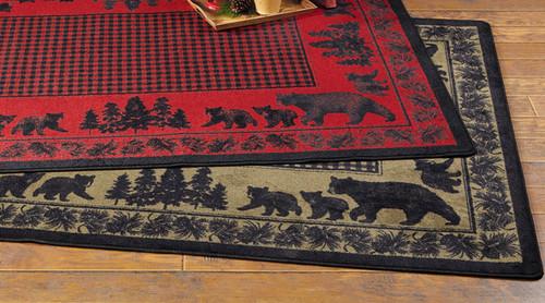 Big Sky Bear Family Green Rug Collection