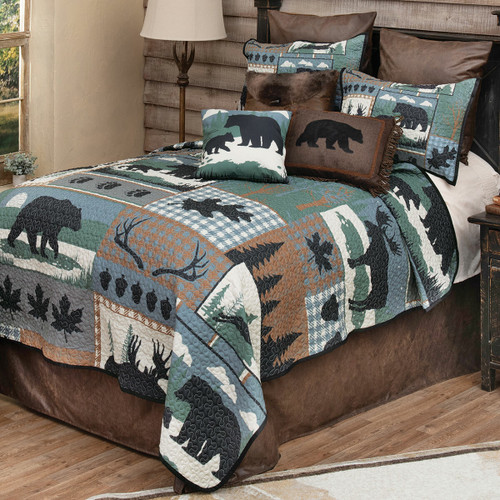Twilight Woods Bear & Moose Quilt Bedding Collection