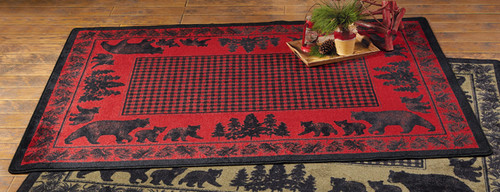Big Sky Bear Family Red Rug Collection