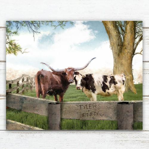 Longhorn Love Personalized Block Mount - 20 x 16