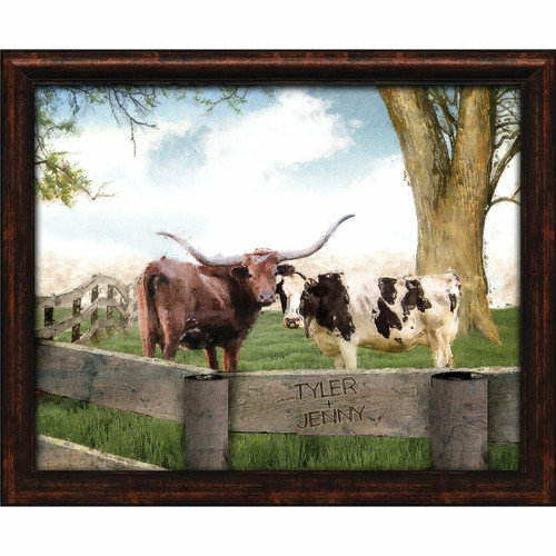 Longhorn Love Personalized Framed Canvas - 16 x 13
