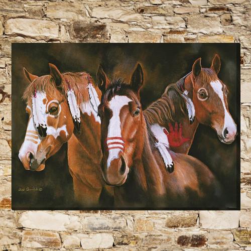 Painted War Horses Canvas Wall Art