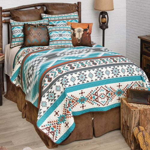 Summer Sky Turquoise Quilt Set - King