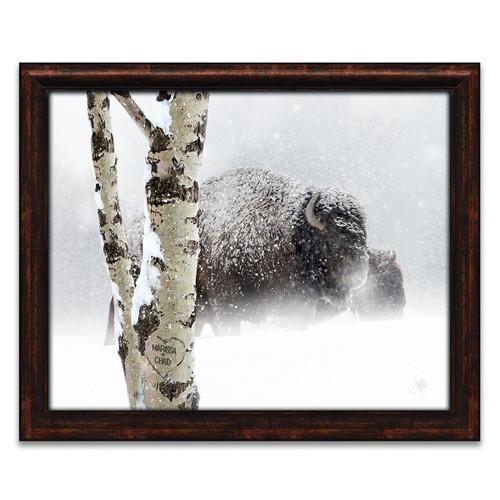 Snow Bison Personalized Framed Canvas