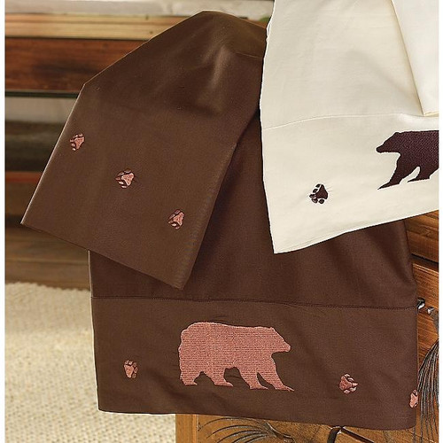 Embroidered Bear Chocolate Sheet Sets