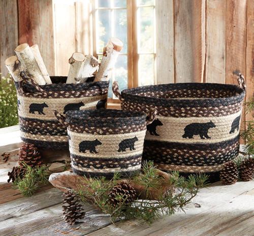 Black Bear Braided Utility Baskets